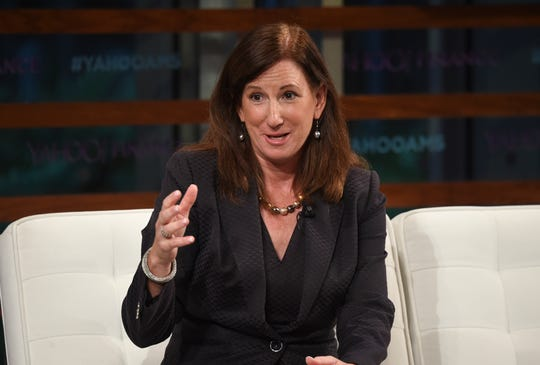 In this Sept. 20, 2018 file photo, Deloitte CEO Cathy Engelbert participates in the Yahoo Finance All Markets Summit: A World of Change at The Times Center in New York. A person familiar with the decision says Engelbert will be the new WNBA president.