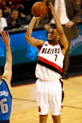 April 21, 2011, Portland, OR, USA; Portland Trail Blazers guard Brandon Roy (7) puts up a shot agaisnt the Dallas Mavericks in the second quarter of game three of the first round of the 2011 NBA playoffs at the Rose Garden. Mandatory Credit: Joe Nicholson-USA TODAY Sports