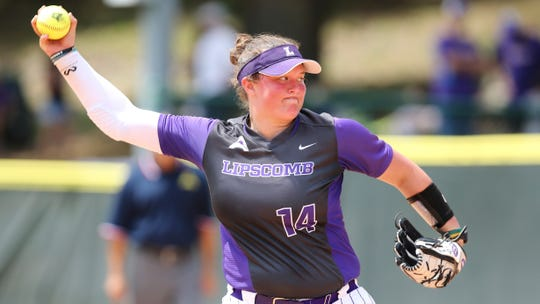 Lipscomb's Mandy Jordan (14) throws a pitch during an NCAA softball game on Saturday, April 6, 2019 Jacksonville, Fla. (AP Photo/Gary McCullough)