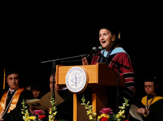 Dutchess Community College president Pamela Edington speaks during Thursday's commencement ceremony on May 16, 2019.