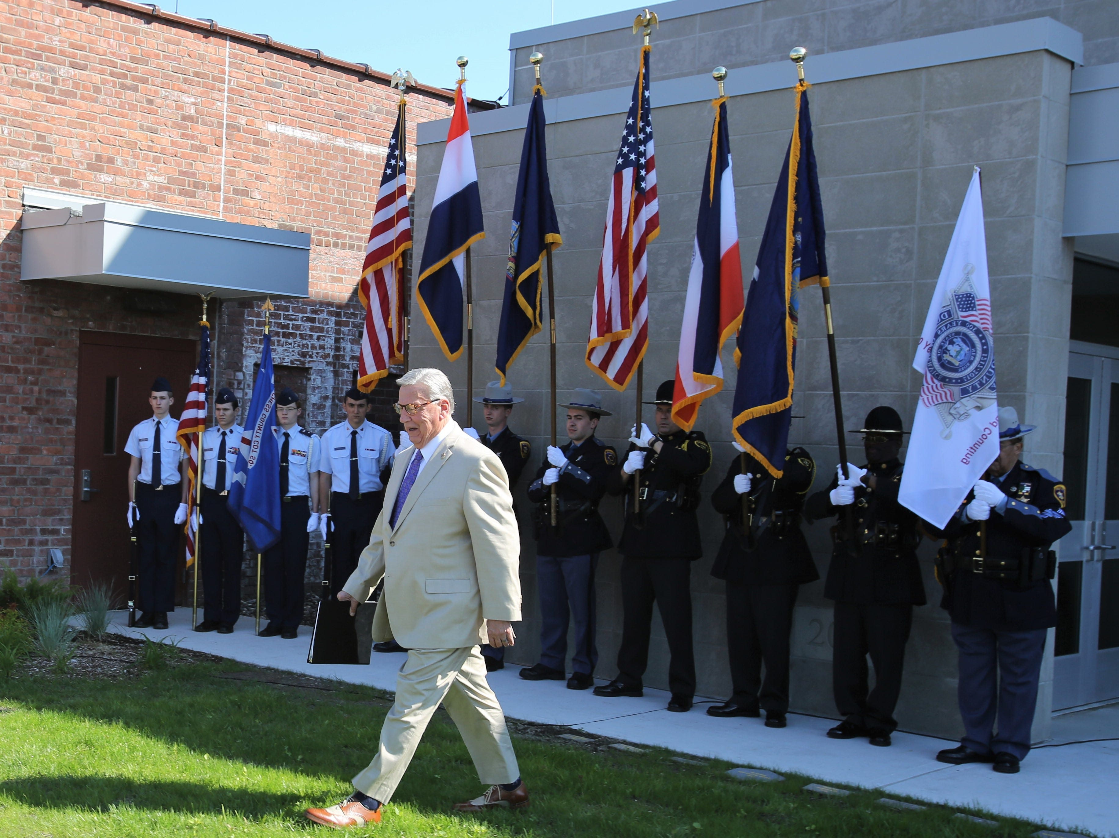 Dutchess County Sheriff's Butch Anderson walks to the podium to speak of the sacrifice of law enforcement men and women at the sheriff's office on May 16, 2019.