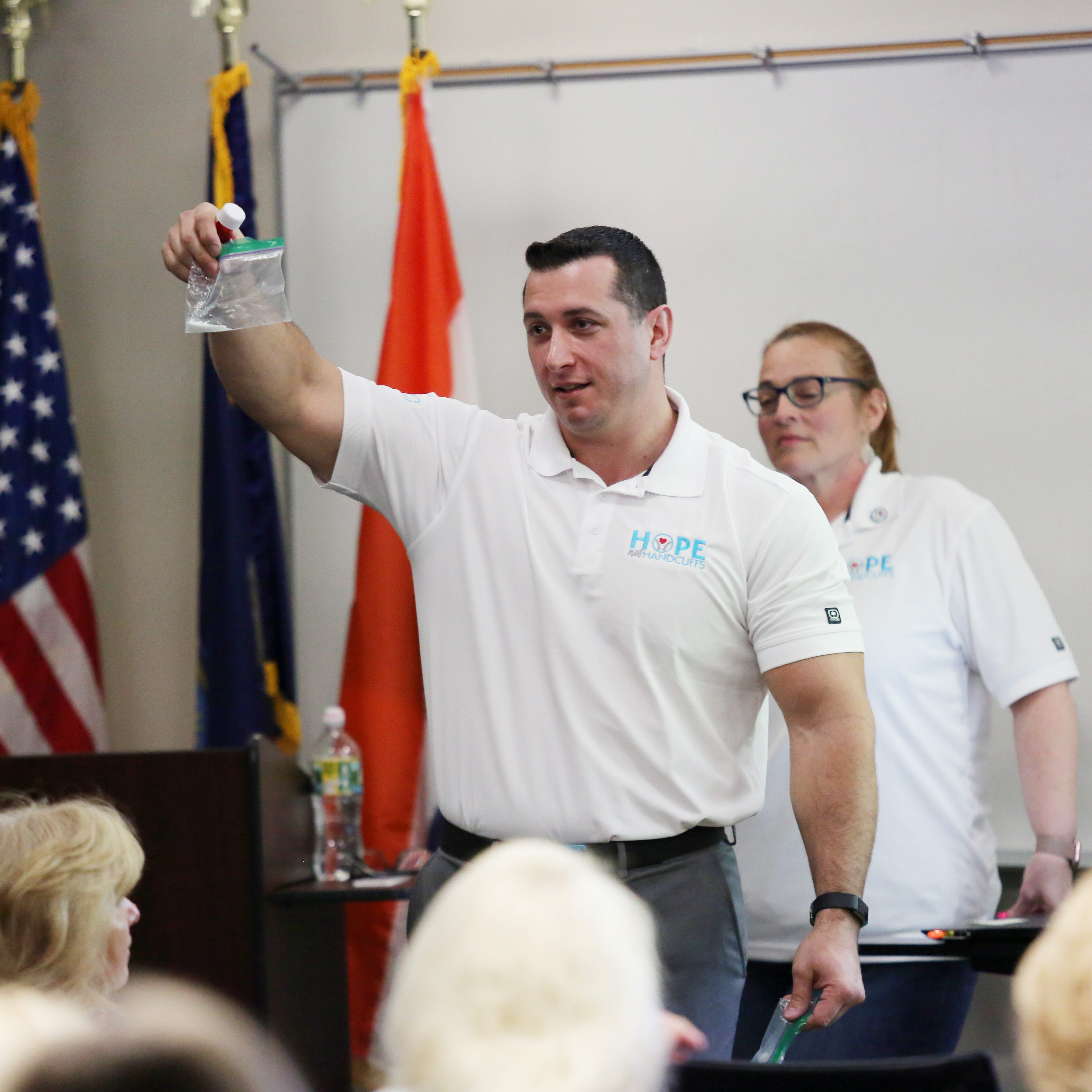 Montgomery Det. Sgt. Guy Farina, law enforcement liaison for Hope Not Handcuffs — Hudson Valley, explains the different drug possession charges at a volunteer training session in Poughkeepsie on May 15, 2019.