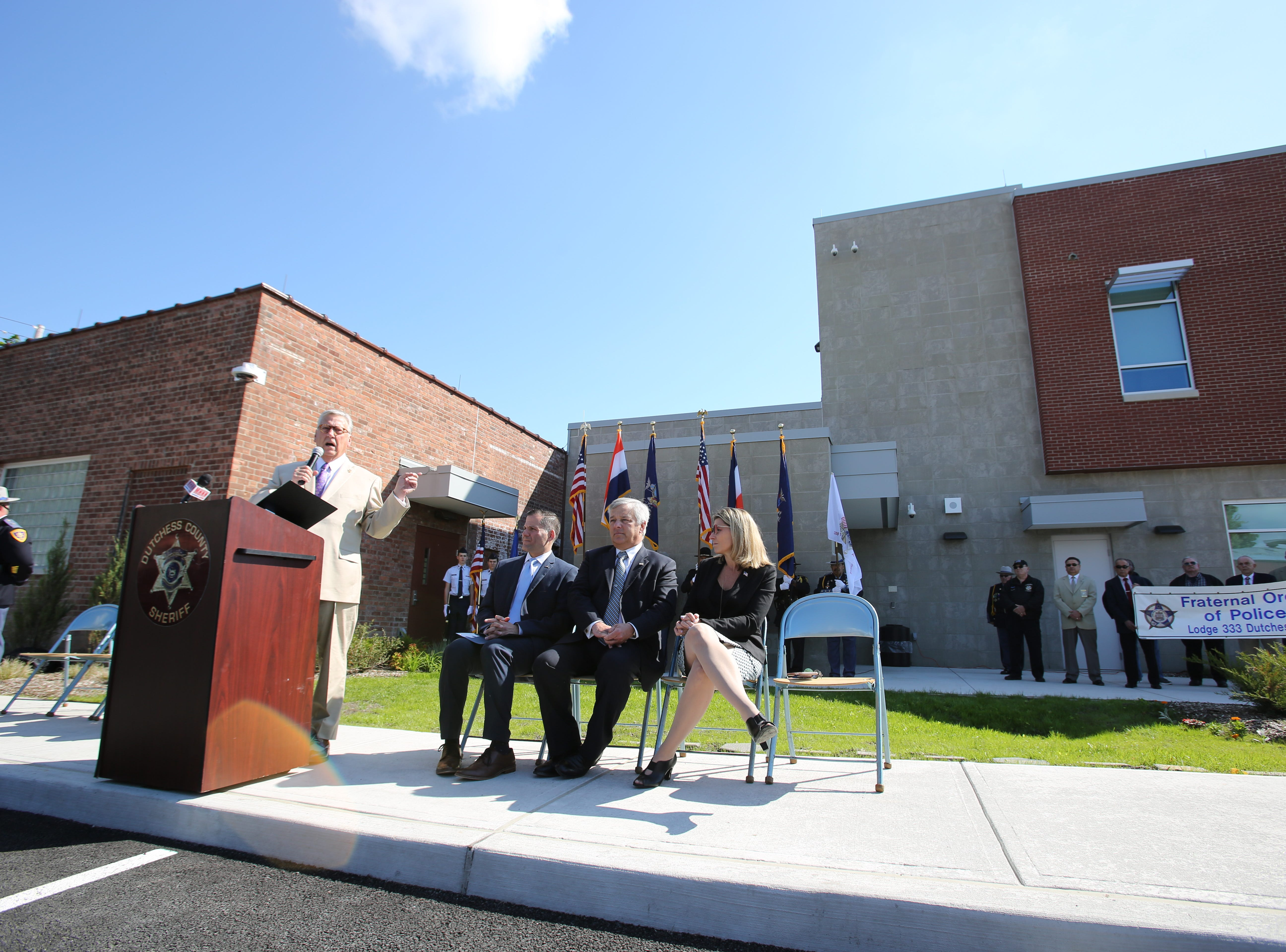 Dutchess County Sheriff's Butch Anderson speaks to the community and law enforcement officials about the  sacrifice of police officers at the sheriff's office on May 16, 2019.