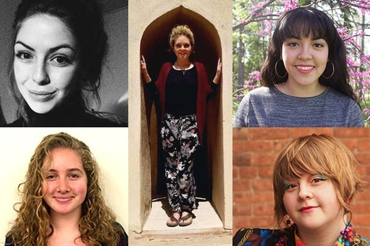 Bard College Fulbright winners and alternates are, clockwise from bottom left: Marion Adams '19, Sofia Hardt '18, Tonery Rogers '19 (center), Kerri Anne Bigornia '19, Corrina Gross '19. Not pictured: Alexa Frank '15 and Olivia Donahue '19.