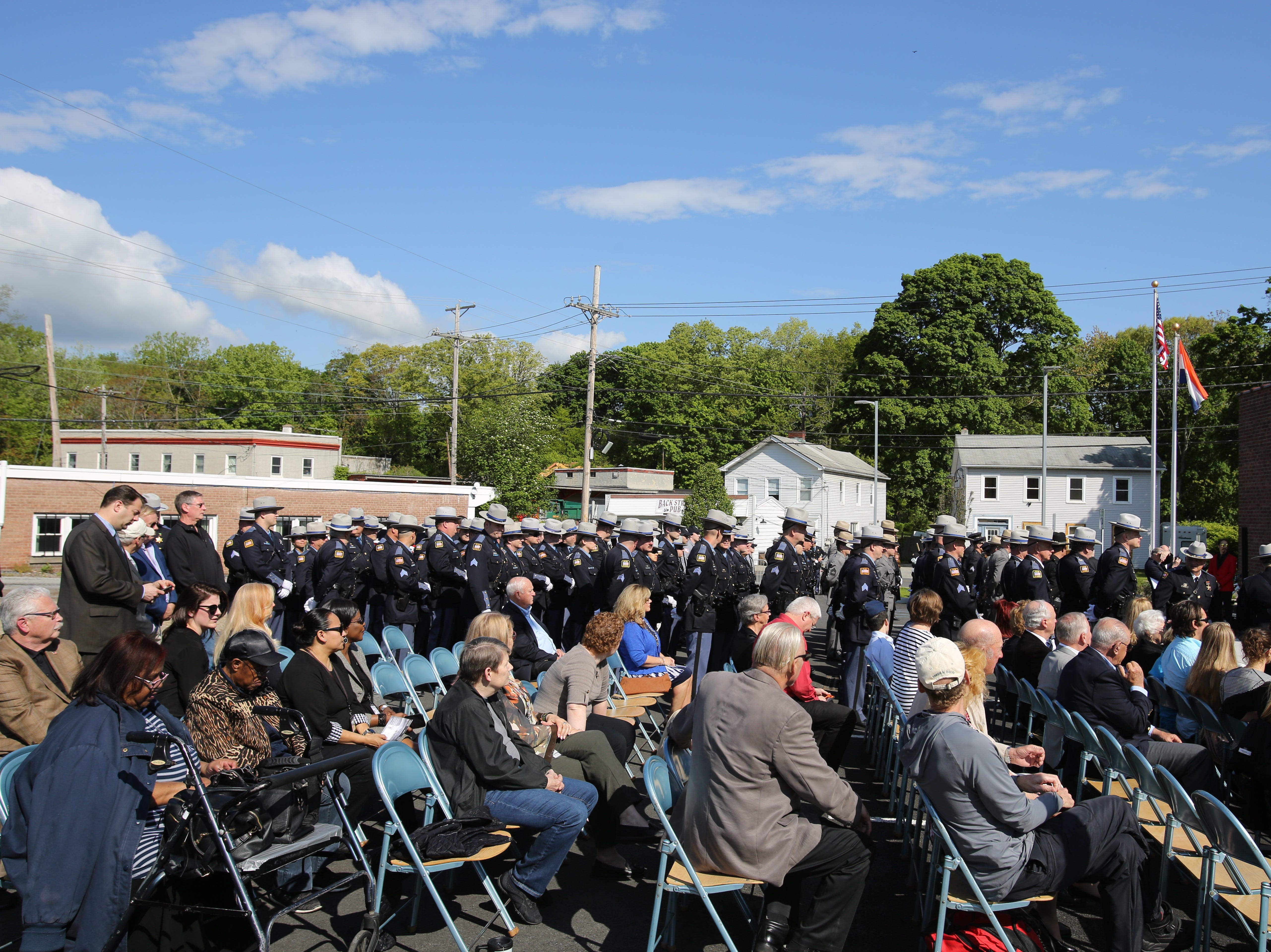 Multiple law enforcement officials and community members celebrate Memorial Day and the sacrifice of police at the Dutchess County Sheriff's Office on May 16, 2019.