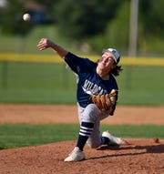 Carson Wolf of Dallastown pitches a shut-out game against Gettysburg to lead the Wildcats to win the YAIAA baseball championship, Thursday, May 16, 2019.
