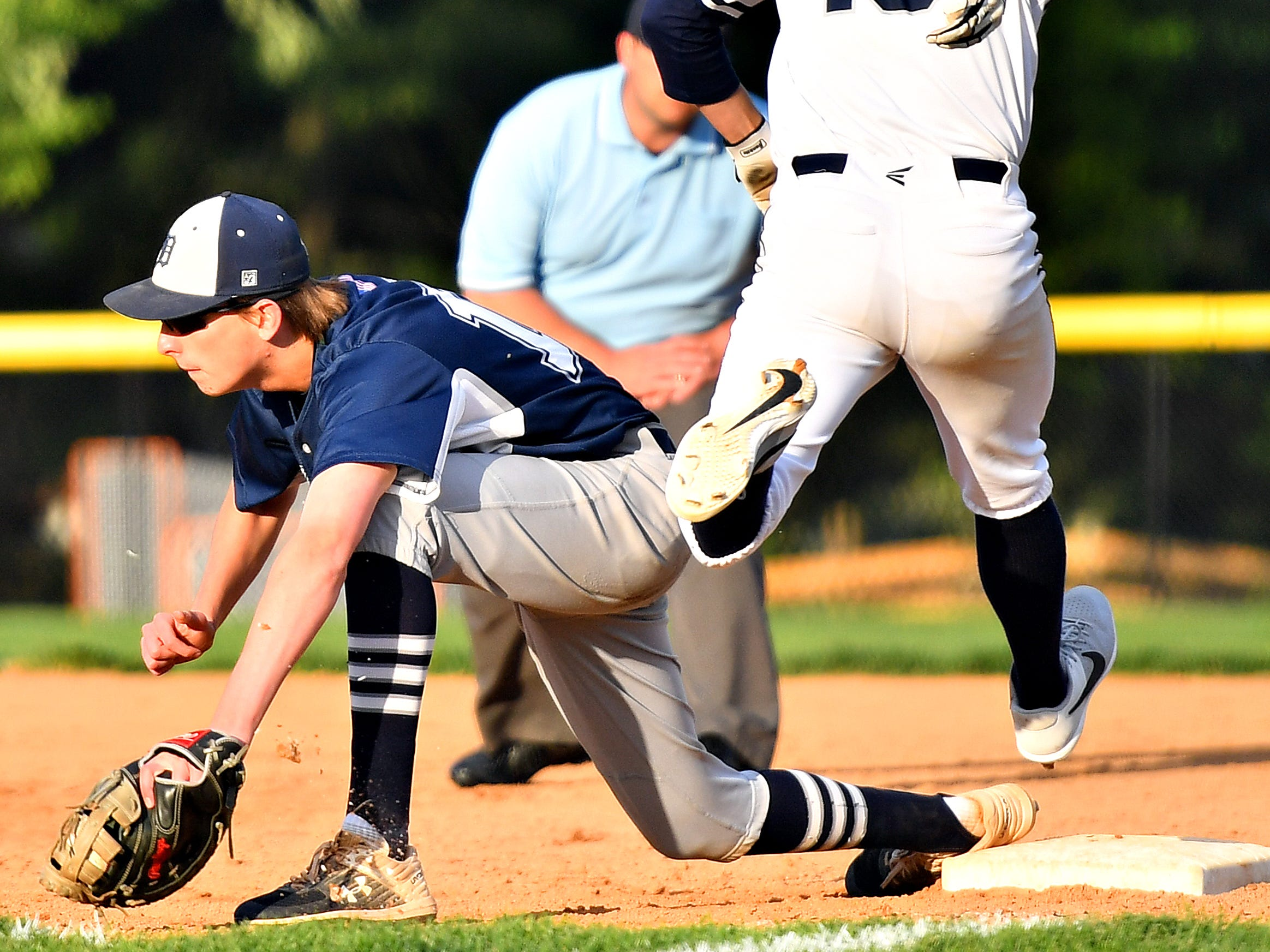 Dallastown vs West York during baseball semifinal action at Spring Grove Area High School in Jackson Township, Wednesday, May 15, 2019. Dallastown would win the game 12-0. Dawn J. Sagert photo