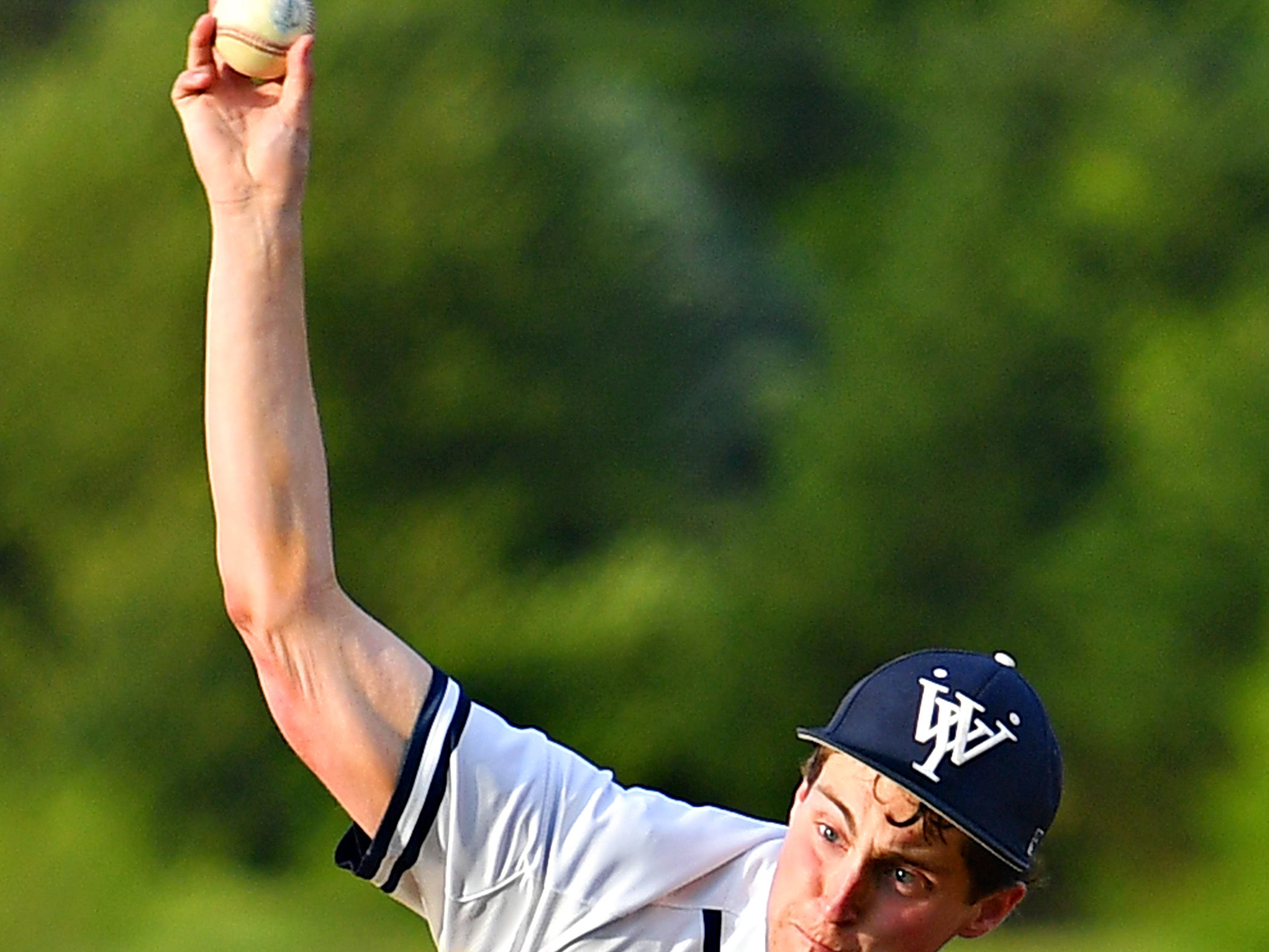 West York's Gabe Allen pitches against Dallastown during baseball semifinal action at Spring Grove Area High School in Jackson Township, Wednesday, May 15, 2019. Dallastown would win the game 12-0. Dawn J. Sagert photo