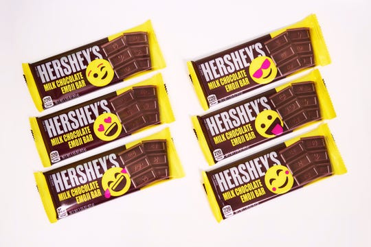 Hershey's is releasing a new, limited-time milk chocolate bar with emojis on  it.
