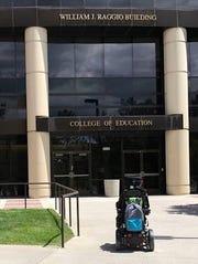 Jesse Rojas heads onto UNR's campus.