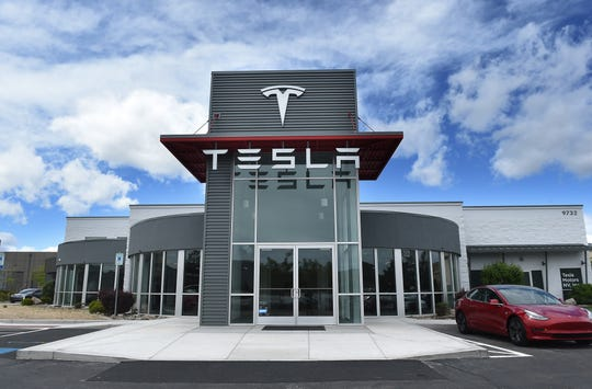 The Tesla service station is seen in Reno on May 16, 2019.