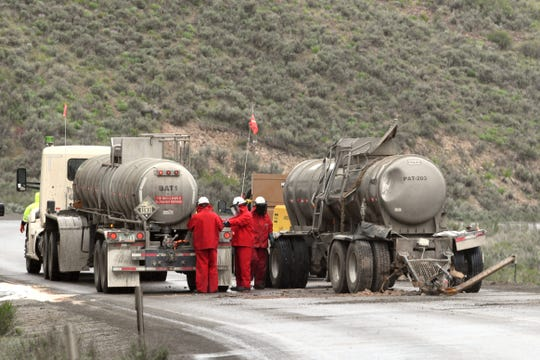 A tractor trailer pulling tanks of sulfuric acid crashed on SR 766 outside Carlin on Thursday morning, causing some of the acid to spill into Maggie Creek, a tributary of the Humboldt River.