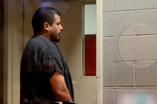 Jaime Lee Jimenez, 38, appears for arraignment at the Marion County Court Annex in Salem May 16, 2019, after allegedly shooting a Salem Police officer multiple times on Tuesday night. The Salem resident is facing charges of attempted murder, second-degree assault, unlawful use of a weapon, and illegal possession of a firearm by a felon. The judge ordered that he be held without bail.