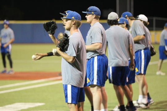 Angelo State University pitcher Josh Barnett (foreground) is a San Angelo Central graduate who leads the Rams with a 1.85 ERA heading into this weekend's South Central Regional.