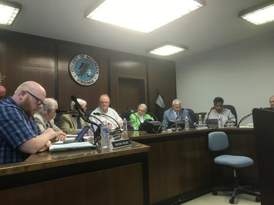 The Accomack County Board of Supervisors considers an agenda item during the Wednesday, May 15, 2019 meeting in Accomac, Virginia.