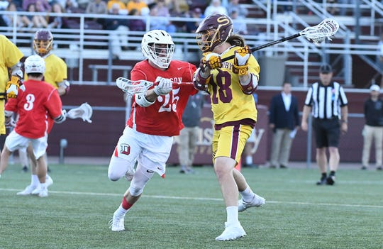 Salisbury's Corey Gwin with the first goal of the night against Denison Wednesday, May 15, 2019. During the quarter-finals of the NCAA Division III championships.
