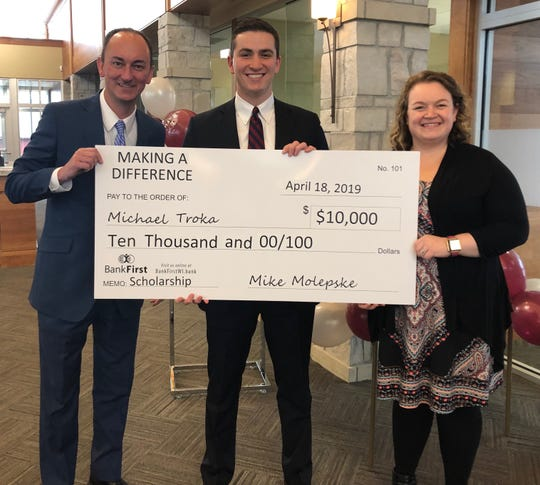 Michael Troka won the 2019 Making a Difference Scholarship from Bank First.