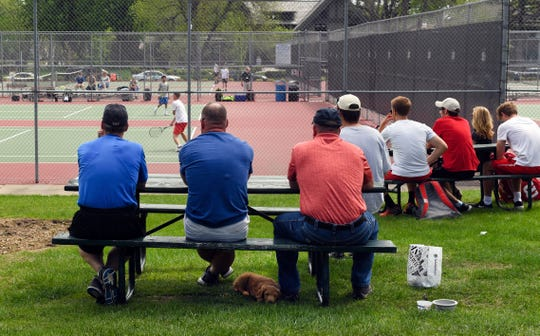 Spectators watch the state boys tennis tournament Thursday, May 16, at McKennan Park in Sioux Falls.