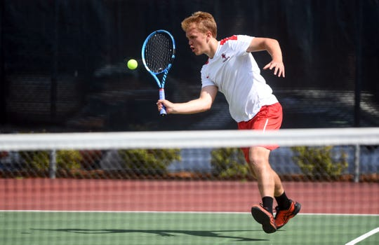 Matthew Schmitz of Brandon Valley returns a volley during the state boys tennis tournament Thursday, May 16, at McKennan Park in Sioux Falls.