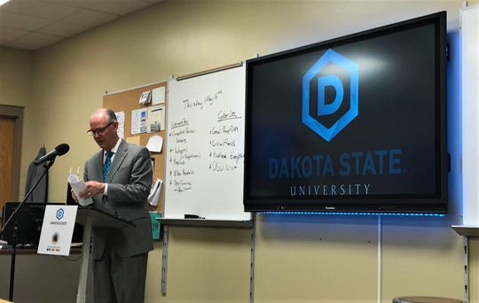 Sioux Falls School District superintendent Brian Maher speaks at a media conference at CTE Academy on Thursday