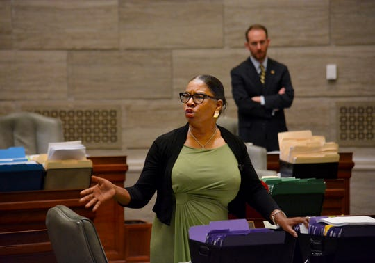 During debate in the Missouri Senate in Jefferson City Wednesday, May 15, 2019, Freshman senator, Karla May, D-St. Louis, makes a point regarding Missouri's proposed new abortion law. Opponents of the bill have begun efforts to block it in that legislative body. The bill would prohibit an abortion after the unborn baby's heartbeat is detected.