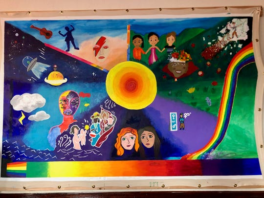 This mural, displayed at the Shenandoah LGBTQ Center on May 14, 2019, portrays the stories of specific community members who participated in the Permeable Borders project.
