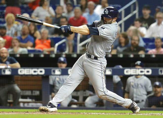 Tampa Bay Rays' Anthony Bemboom hits a single during the fifth inning of the team's baseball game against the Miami Marlins, Wednesday, May 15, in Miami.