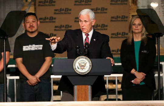 Vice President Mike Pence addresses the crowd on Thursday, May 16, 2019, at J&D Manufacturing in Eau Claire, Wis. Pence, along with U.S. Department of Agriculture Deputy Secretary Stephen Censky, took part in a round table discussion to discuss the proposed U.S.-Mexico-Canada trade agreement and addressed supporters of the bill.