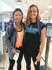 TCC runners Mia Wiederkehr (left) and Genevieve Printiss stand at the security checkpoint at Tallahassee International. They boarded a flight for the NJCAA Outdoor Track & Field Championships in Hobbs, New Mexico on Thursday, May 16, 2019.
