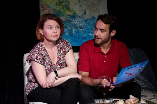 """Candy Rose (Theresa Prow Davis) talks with Gavin Morales (Dylan) in """"12 Steps to Somewhere"""" at Theatre Tallahassee."""