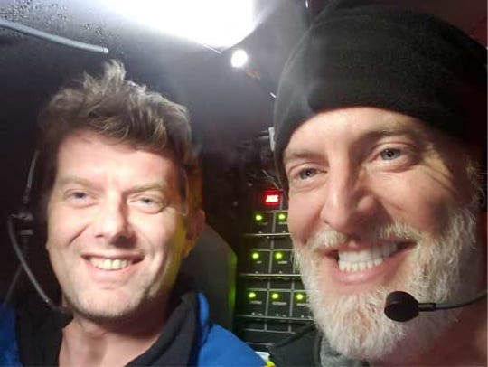 Alan Jamieson, left, a scientist of Newcastle University in Scotland, and adventurer Victor Vescovo, right, of Dallas execute a scientific mission deep in the Mariana Trench in early May 2019.