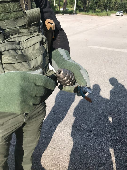 An inert grenade was found in a Goodwill donation bin Wednesday in Port St. Lucie