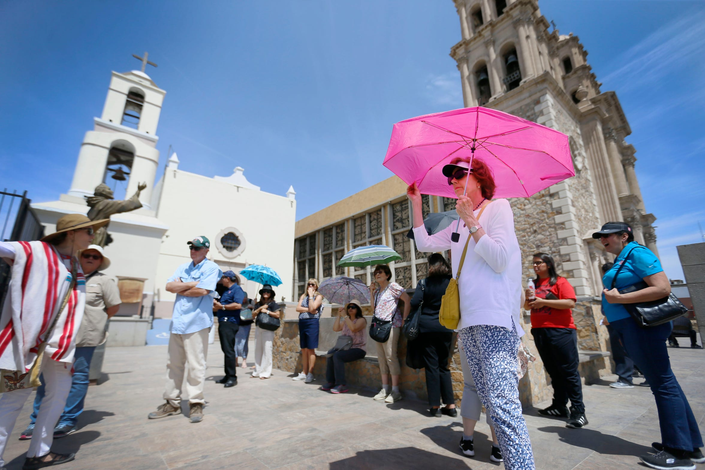 Melissa O'Rourke, presidential candidate Beto O'Rourke's mother, attends the Juárez historic walking tour lead by El Paso's first lady Adair Margo Thursday, May 16, in Juárez. The group toured the Cathedral of Ciudad Juarez and the Catedral de Nuestra Se–ora de Guadalupe.