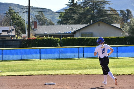Nordhoff senior Sydnie Wimpee circles the bases after slugging a home run against Fillmore on April 18.