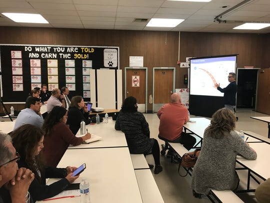 Oxnard City Manager Alex Nguyen gives a budget presentation on Wednesday at Rose Avenue Elementary School.