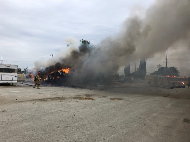Visalia firefighters were called to a trailer fire on Wednesday, May 15, 2019.