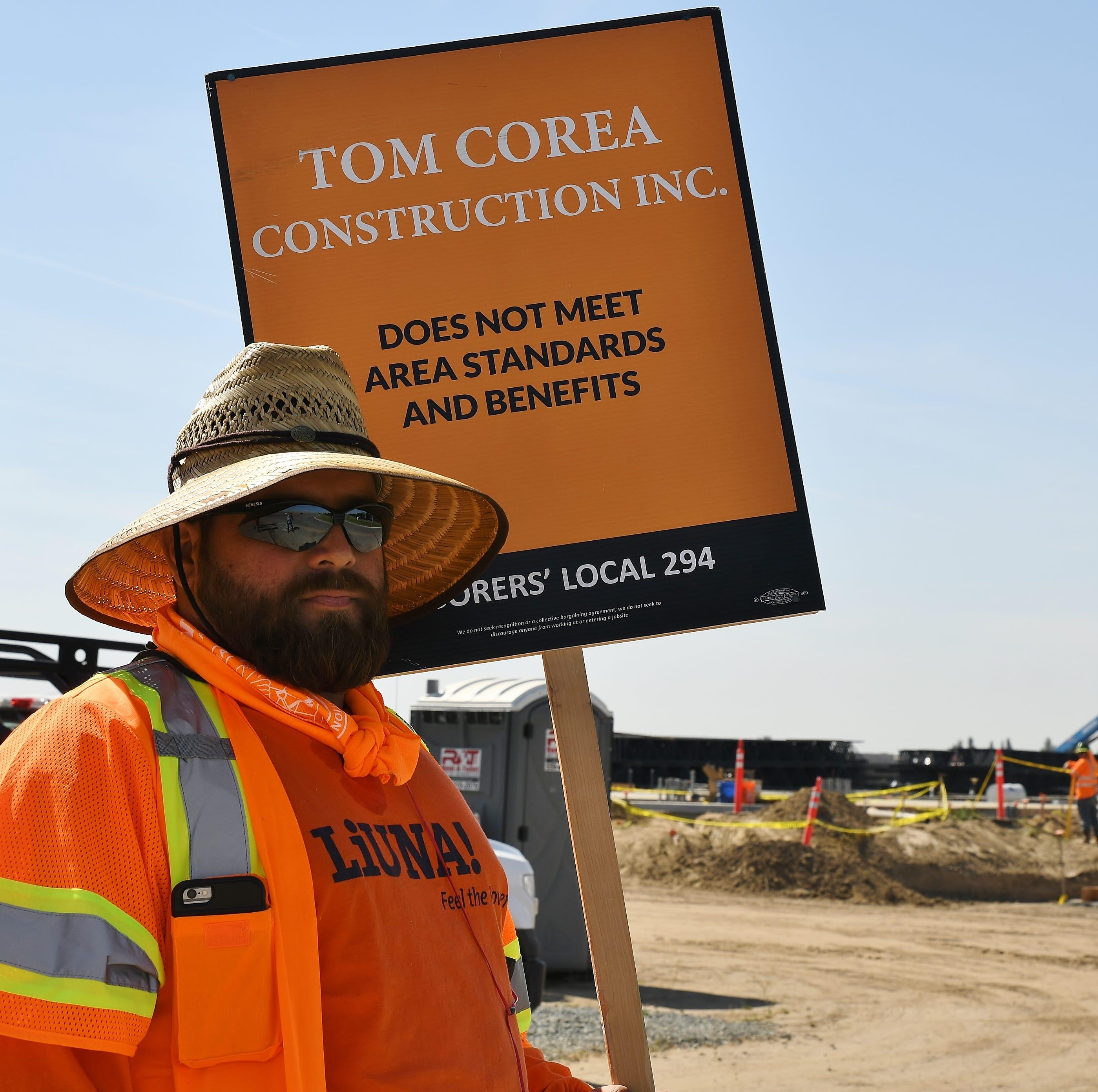 Labor union protests Visalia UPS distribution hub construction