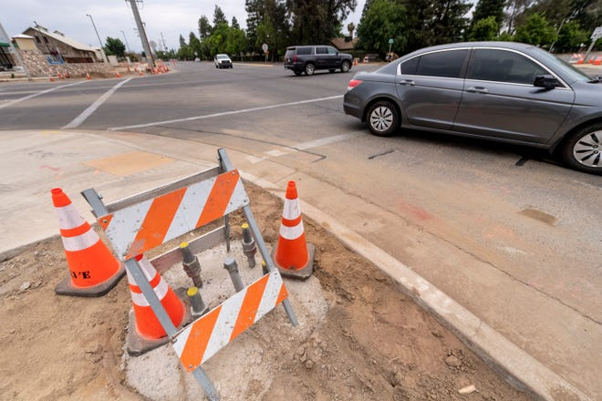Construction for a new stoplight at Mooney and Riggin Avenue on Wednesday, May 15, 2019.