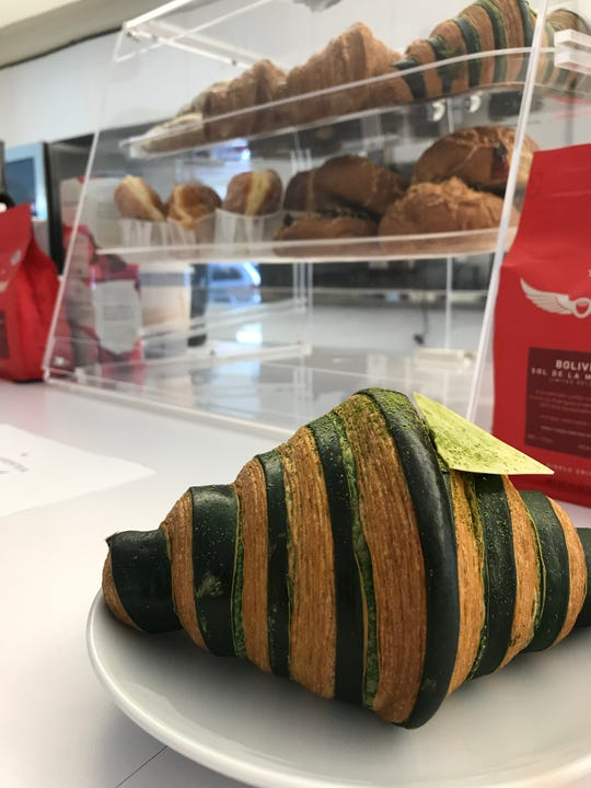 Matcha white chocolate croissant from the Intelligentsia Coffee cart at the TWA Hotel.