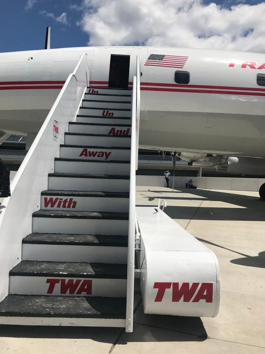 Hop aboard: Steps leading up to the Connie, the refurbished airplane turned cocktail lounge at the TWA Hotel.