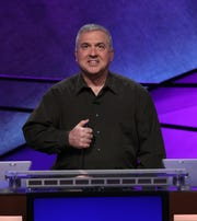 Francois Barcomb of Gardiner, a teacher at Hendrick Hudson High School in Montrose, competes in the Jeopardy! Teacher Tournament