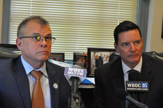 Rep. Ed Osienski, D-Newark (left), and Sen. Trey Paradee, D-Dover, field questions from reporters in May about their bill that would legalize recreational use of marijuana in Delaware.