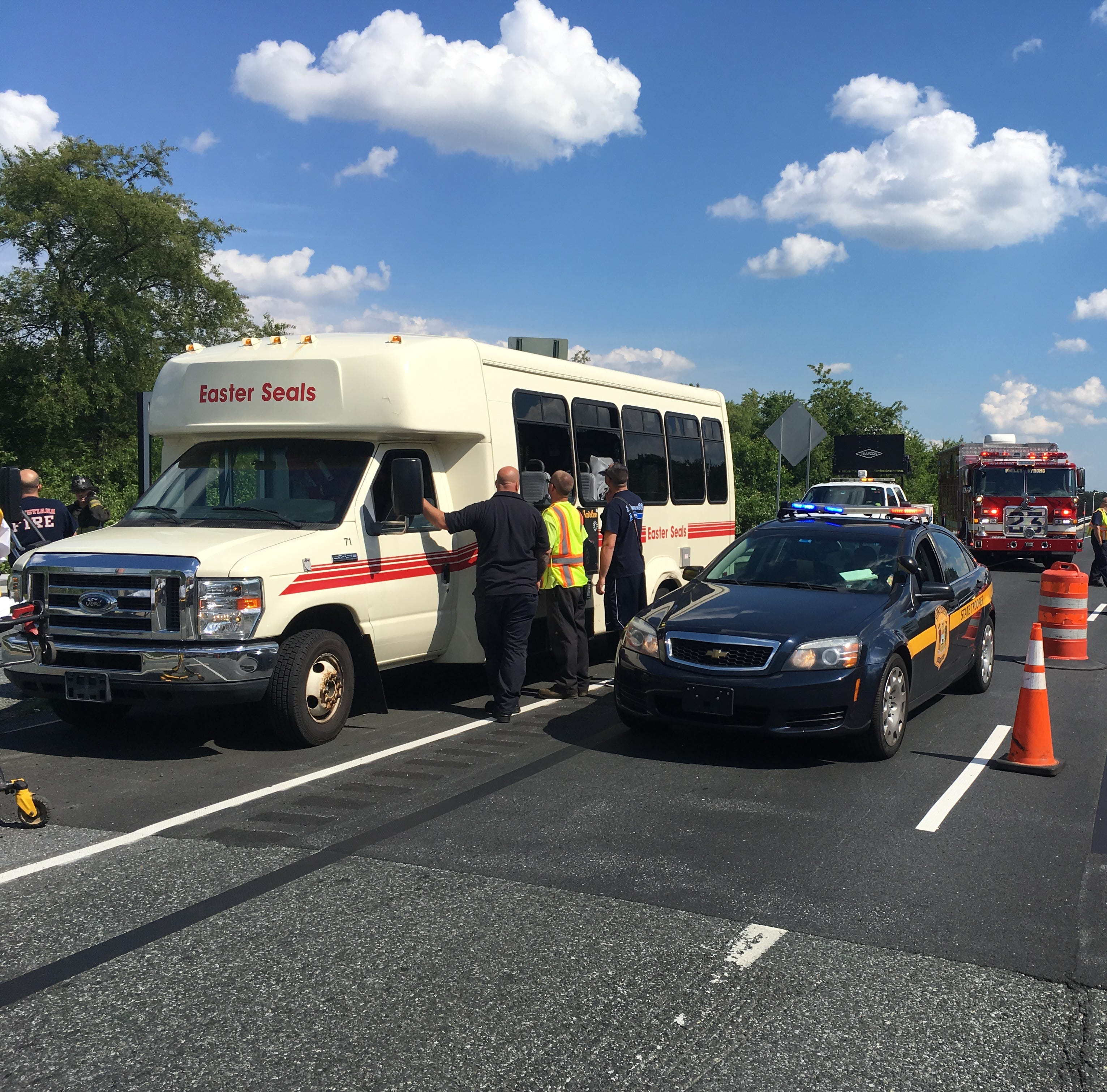 Del. 141 northbound cleared at I-95 ramp following two-bus crash