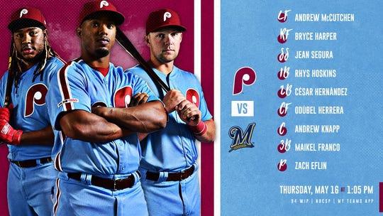 Phillies' lineup Thursday vs. Brewers.