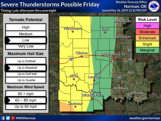 Severe storms are expected to develop near a dryline and move into western portions of the area late Friday afternoon and evening. All severe weather hazard types are possible along with heavy rain and flooding.