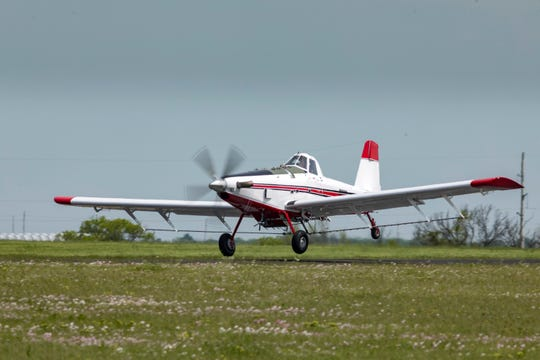 Michael Hutchins, owner of a new AT-802 aircraft manufactured by Air Tractor of Olney, Texas, departs Air Tractor on his return trip to Roe, Arkansas. 800th aircraft in the AT-802 series. The 800-gallon capacity airplane, Air Tractor's largest, can be adapted for agricultural application, firefighting operations, as well as other specialty uses.