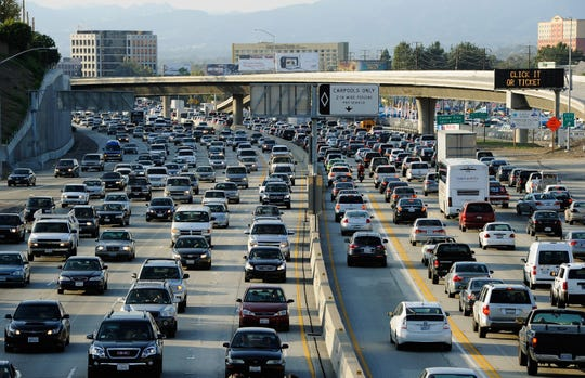 A Los Angeles-area freeway in a file photo. California has notoriously bad traffic and air quality.