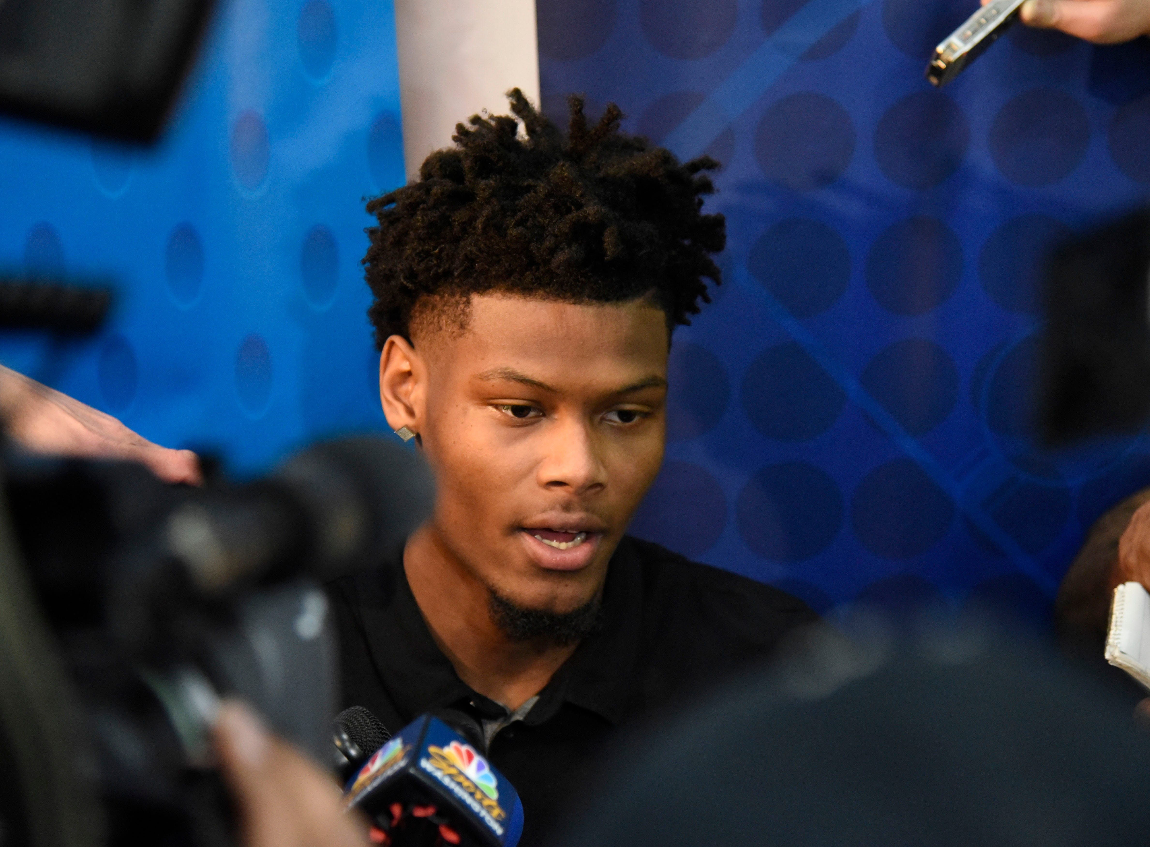 Cam Reddish speaks with the media during the NBA draft combine in Chicago.