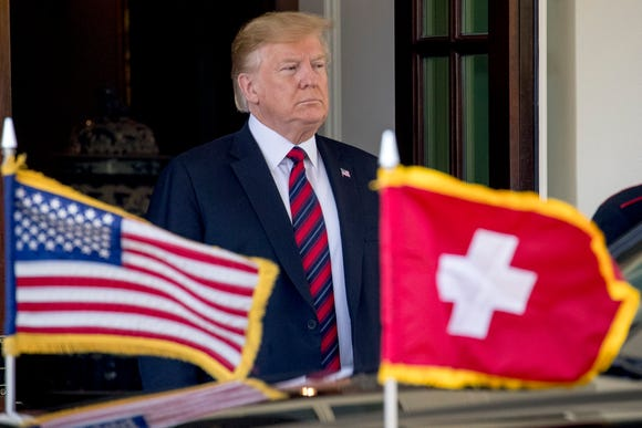 President Donald Trump welcomes Switzerland's Federal President Ueli Maurer to the White House, Thursday, May 16, 2019, in Washington.