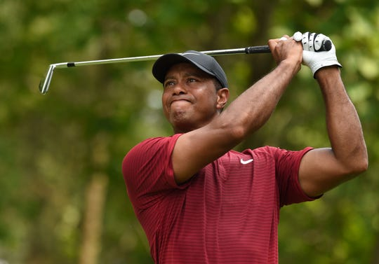 Tiger Woods finished second at the 2018 PGA Championship at Bellerive Country Club.